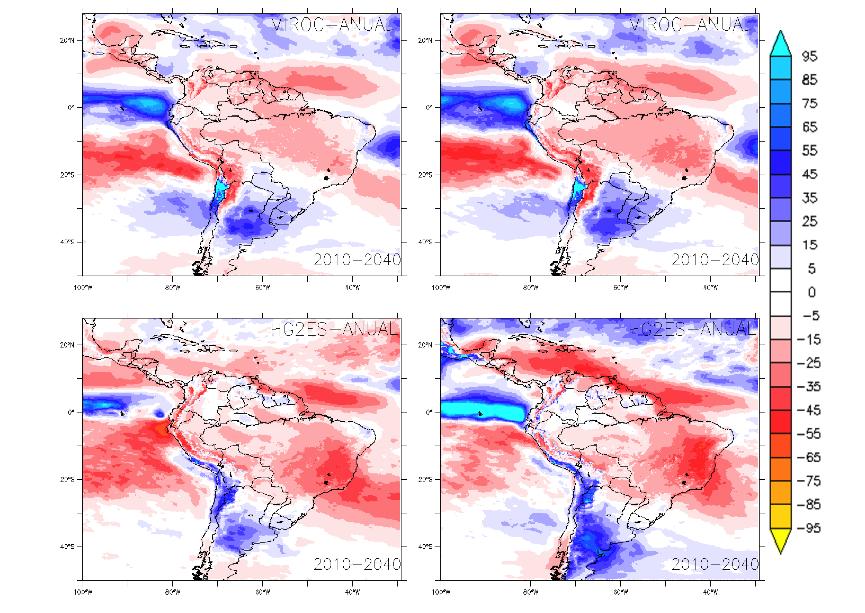 O que acontece com as chuvas no Brasil nos quatro cenários avaliados pelo 2040: o melhor cenário (mapa superior esquerdo) e o pior (inferior dirteito)
