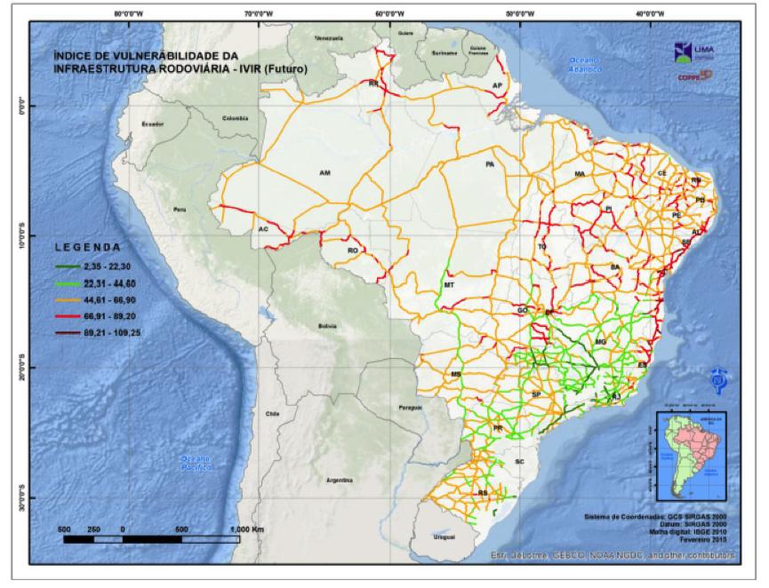 Mapa mostra estradas vulneráveis (em laranja e vermelho) em 2040
