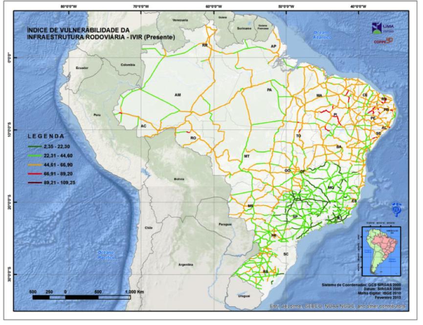 Mapa mostra estradas vulneráveis (em laranja e vermelho) hoje
