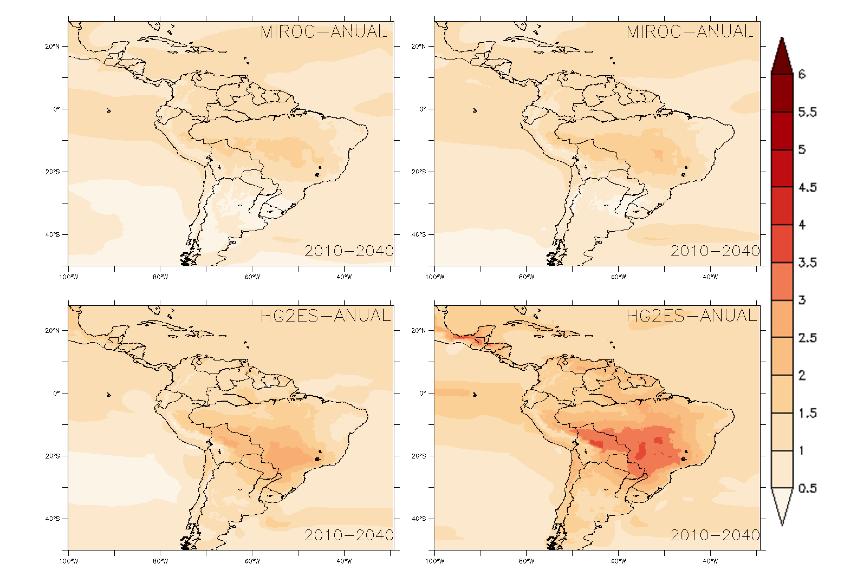 O que acontece com a temperatura no Brasil nos quatro cenários avaliados pelo 2040: o melhor cenário (mapa superior esquerdo) e o pior (inferior dirteito)