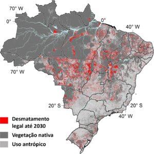 Fig. 1. Projeção de desmatamento no ano de 2030 em um cenário de desmatamento ilegal zero, considerando o histórico de médias de cinco anos para a Amazônia (14), Cerrado (15) e outros biomas (16).