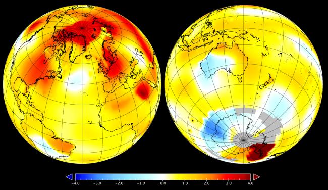 Anomalia de temperatura da Terra em setembro (Imagem: Nasa)