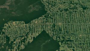 Desmatamento em Rondônia visto pelo satélite Landsat (Imagem: Google Earth)