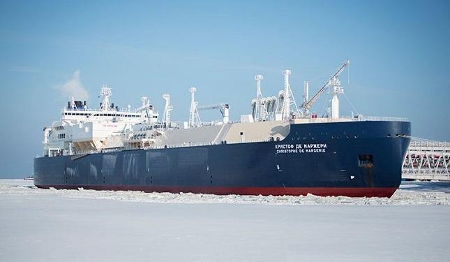 O petroleiro Christophe de Margerie encara gelos de até 2,1 metros de espessura. Foto: Sovcomflot,  empresa russa de transporte marítimo