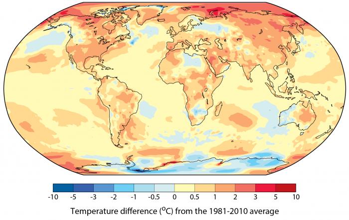 Mapa de temperaturas de 2017; regiões do Ártico ficaram quase 10ºC mais quentes que a média do fim do século passado (Imagem: OMM)