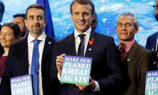 O presidente Emmanuel Macron durante o One Planet Summit