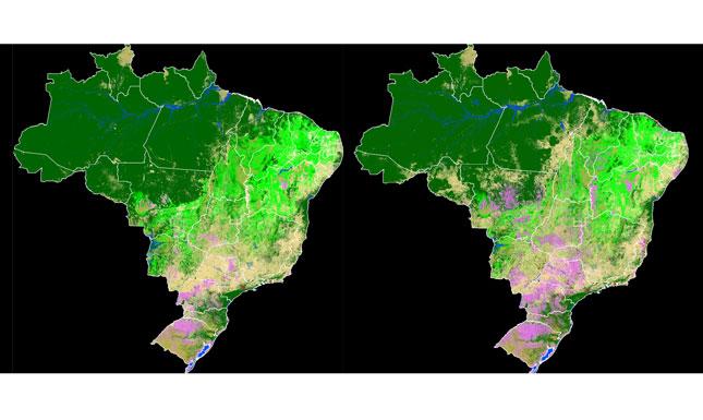 Imagens mostram tipos de ocupação de terra no Brasil em 1985 e 2017 (Mapbiomas)