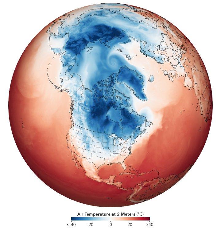 Mapa com vase em imagens de satélite mostra o frio tomando conta dos Estados Unidos (Imagem: Nasa)