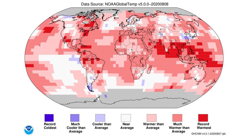 Mapa de temperaturas em julho (Noaa)